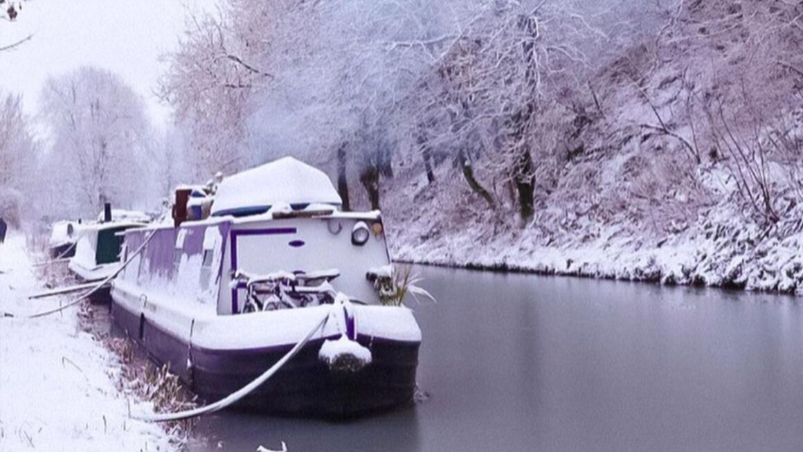 how to live on a canal boat - boat moored in the snow
